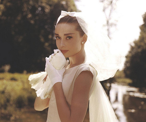 audrey hepburn, white, and wedding image