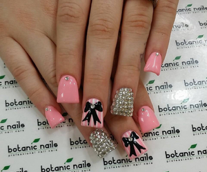 pink, bow, and nails image