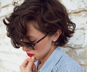 curly, dark, and haircut image