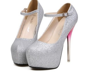 high heels, silver shoes, and pum image