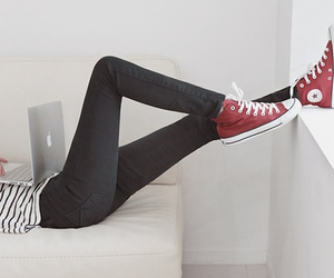 converse, apple, and red image