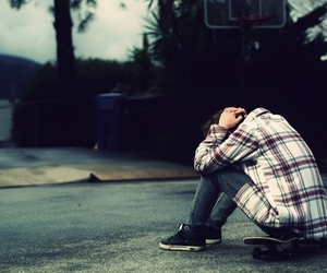 boy, skate, and alone image