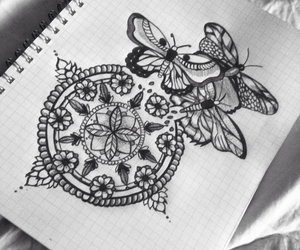 art, butterfly, and doodle image