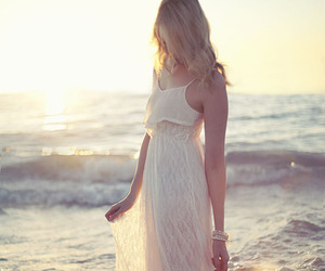 dress, girl, and beach image