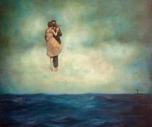 couple, far away, and hug image