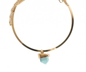 gold necklace, choker necklace, and turquoise stone image
