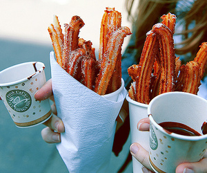 food, churros, and chocolate image