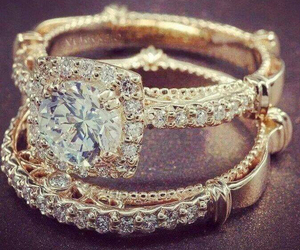 gold, diamond, and ring image