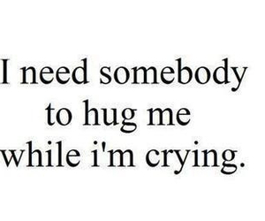 hug, cry, and quote image