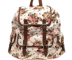bag, floral, and backpack image