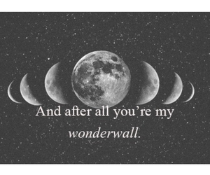 wonderwall, moon, and oasis image