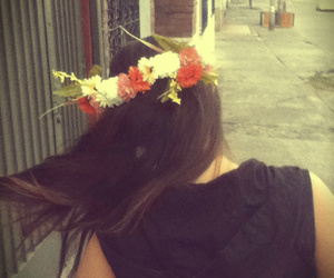 city, flower crown, and girl image