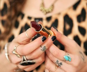 lipstick, rings, and tattoo image