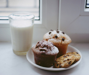 milk, food, and muffin image