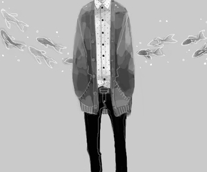 anime, boy, and monochrome image