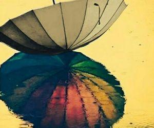 umbrella, rain, and rainbow image