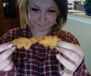 Chicken, girl, and nuggets image