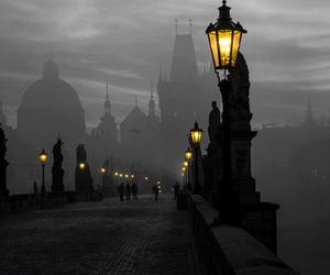 bridge, lights, and fog image