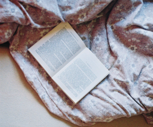 book, bed, and reading image