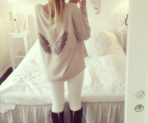 outfit, sweater, and wings image