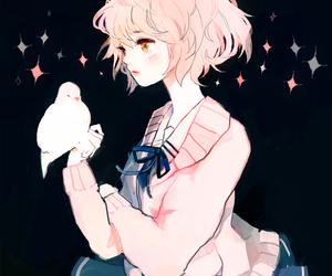 anime, girl, and bird image