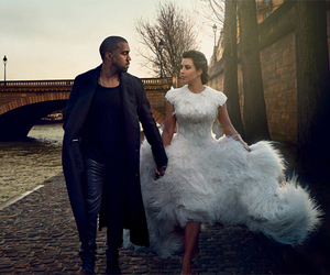 kim kardashian, kanye west, and vogue image