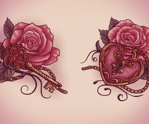 key, tattoo, and roses image
