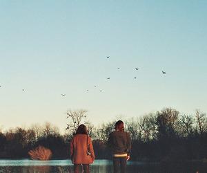 sky, girl, and nature image