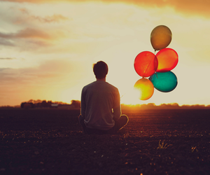 balloons, boy, and colors image