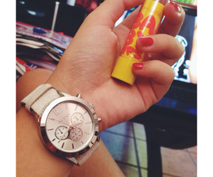 baby, watch, and lipstick image