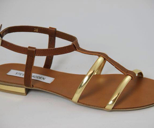 gold, sandals, and steve madden image