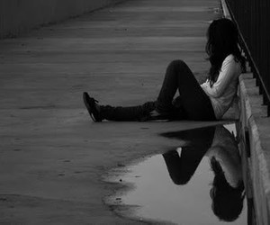 girl, alone, and black and white image