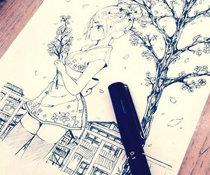 bic, drawing, and black image