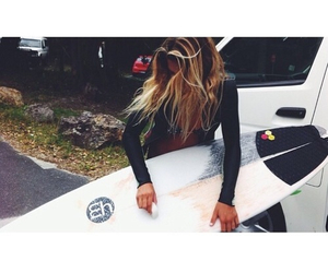 girl, beach, and surfer image