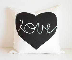love, heart, and pillow image