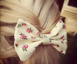 hair, bow, and blonde image
