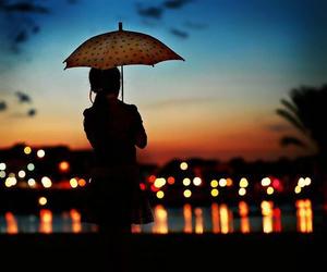 umbrella, light, and night image