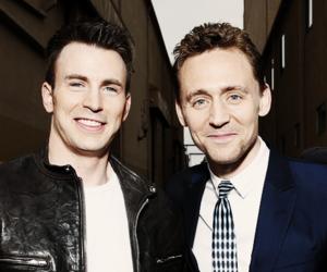 chris evans, tom hiddleston, and loki image
