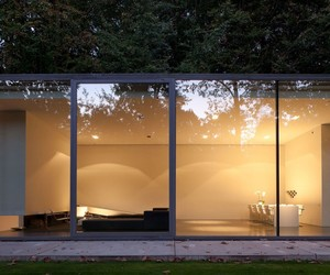 glass house, architecture., and abstract red painting image