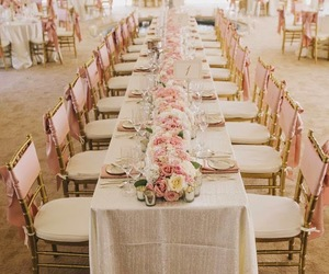 wedding, pink, and gold image