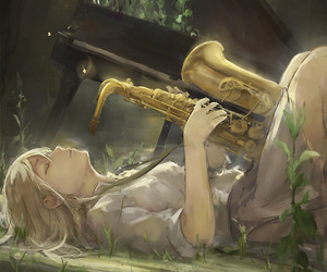 abandoned, girl, and instrument image