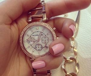 watch, nails, and pink image