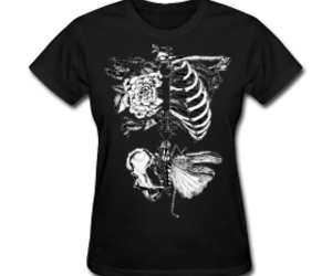 bones, flower, and goth image