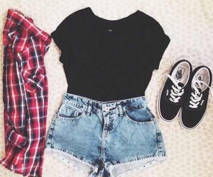flannel, shorts, and outfit image