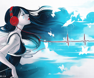 music, headphones, and art image
