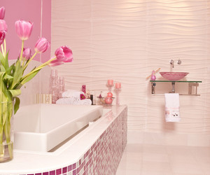 bathroom, pink, and home image