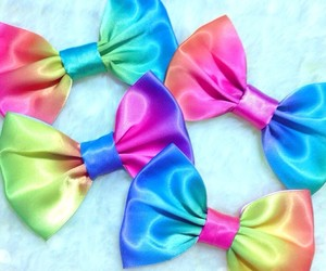 bows, fashion, and rainbow image