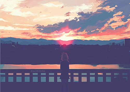 anime, sky, and sunset image