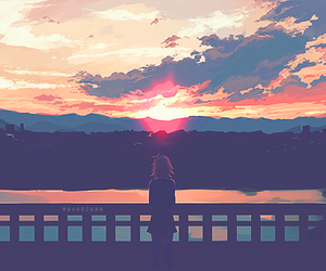 anime, sky, and sunset image