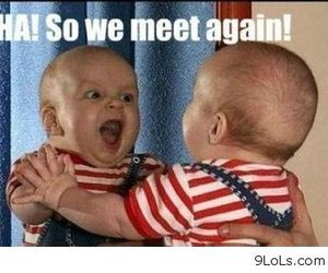 funny, baby, and mirror image